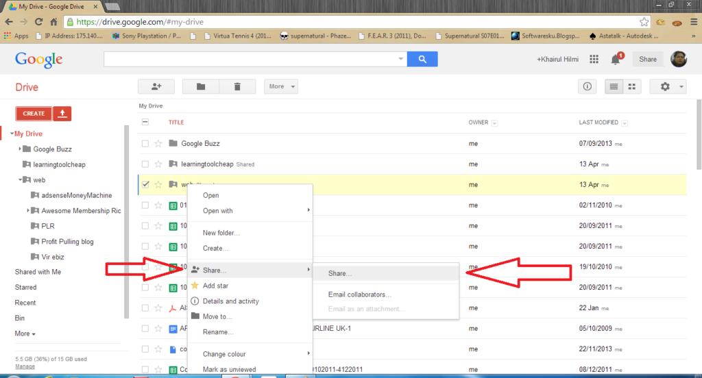 host website guna google drive